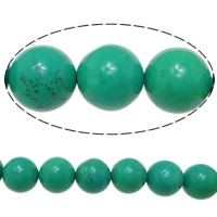 Turquoise Beads, Round, green, 16mm, Hole:Approx 1.5mm, Length:Approx 16 Inch, Approx 11Strands/KG, Approx 25PCs/Strand, Sold By KG