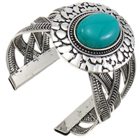 Zinc Alloy Cuff Bangle, with Turquoise, antique silver color plated, nickel, lead & cadmium free, 52mm, Length:Approx 6.5 Inch, 10PCs/Lot, Sold By Lot