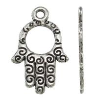 Zinklegering Hamsa Hangers, Zinc Alloy, antiek zilver plated, Joodse Jewelry & Islam sieraden, lood en cadmium vrij, 14x22x1mm, Gat:Ca 1mm, Ca 1420pC's/Bag, Verkocht door Bag