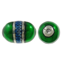 Copper Coated Plastic Beads, Oval, antique silver color plated, enamel, green, lead & cadmium free, 46x31mm, Hole:Approx 5mm, 10PCs/Bag, Sold By Bag