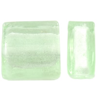 Silver Foil Lampwork Beads, Square, handmade, light green, 10x5.5mm, Hole:Approx 1mm, 100PCs/Bag, Sold By Bag
