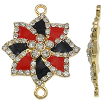 Flower Zinc Alloy Connector, KC gold color plated, enamel & with rhinestone & 1/1 loop, nickel, lead & cadmium free, 26.50x33.50x3.50mm, Hole:Approx 2mm, 10PCs/Bag, Sold By Bag