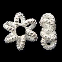 Srebrne koraliki 925, Srebro 925, Kwiat, Platerowane w kolorze srebra, 7x3mm, otwór:około 2mm, 10komputery/torba, sprzedane przez torba