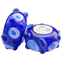 Szklane koraliki European, Lampwork, Okrąg, Ręcznie robione, z motywem kwiatowym & mosiężny pojedynczy środek bez gwintu & guzkowany, niebieski, bez zawartości niklu, ołowiu i kadmu, 15x7mm, otwór:około 5mm, 100komputery/torba, sprzedane przez torba