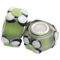 Szklane koraliki European, Lampwork, Okrąg, Ręcznie robione, z motywem kwiatowym & mosiężny pojedynczy środek bez gwintu & guzkowany, zielony, bez zawartości niklu, ołowiu i kadmu, 18x7mm, otwór:około 4.5mm, 100komputery/torba, sprzedane przez torba