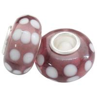 Szklane koraliki European, Lampwork, Okrąg, Ręcznie robione, mosiężny pojedynczy środek bez gwintu & wzór w okrągłe plamki, bez zawartości niklu, ołowiu i kadmu, 13x7.5mm, otwór:około 4.5mm, 100komputery/torba, sprzedane przez torba