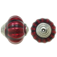 Copper Coated Plastic Beads, Lantern, platinum color plated, enamel, red, lead & cadmium free, 27x27mm, Hole:Approx 3mm, Sold By PC
