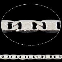 Mosiężny łańcuszek Valentino, Mosiądz, Platerowane w kolorze srebra, z serca wzór & Valentino łańcucha, bez zawartości niklu, ołowiu i kadmu, 7x3.50x1mm, długość:około 100 m
