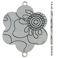 Flower Zinc Alloy Connector antique silver color plated 1/1 loop nickel lead   cadmium free 38x48x2mm Hole:Approx 2mm Approx 85PCs/KG