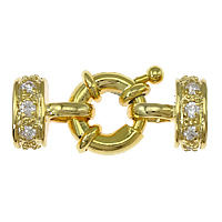 Brass Spring Ring Clasp 18K gold plated with end cap   with cubic zirconia nickel lead   cadmium free 24x10x7mm 4x7mm 5PCs/Bag