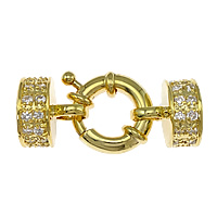 Brass Spring Ring Clasp, 18K gold plated, with end cap & with cubic zirconia, nickel, lead & cadmium free, 33X13mm, 9mm, Hole:Approx 2mm, 3PCs/Bag, Sold By Bag