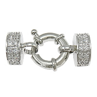 Brass Spring Ring Clasp platinum plated with end cap   with cubic zirconia nickel lead   cadmium free 32x13x13mm 8mm 3Sets/Bag