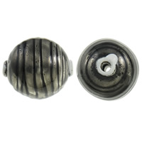 Copper Coated Plastic Beads, Oval, antique silver color plated, enamel, black, lead & cadmium free, 38x34mm, Hole:Approx 5mm, Sold By PC