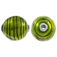 Copper Coated Plastic Beads, Oval, antique silver color plated, enamel, apple green, lead & cadmium free, 38x34mm, Hole:Approx 5mm, 10PCs/Bag, Sold By Bag
