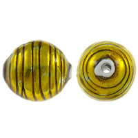 Copper Coated Plastic Beads, Oval, antique silver color plated, enamel, yellow, lead & cadmium free, 38x34mm, Hole:Approx 5mm, 10PCs/Bag, Sold By Bag
