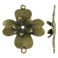 Flower Zinc Alloy Connector, antique bronze color plated, 1/1 loop, nickel, lead & cadmium free, 31x38x6mm, Hole:Approx 2mm, Approx 165PCs/KG, Sold By KG