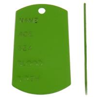 Żelazo Tag urok, żelazo, Prostokąt, Malowane, z listu wzór, zielony, bez zawartości ołowiu i kadmu, 30x51x1mm, otwór:około 3.5mm, sprzedane przez PC