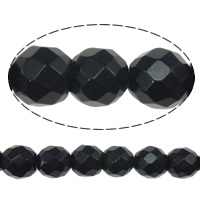 Natural Black Stone Beads, Round, faceted, 6mm, Hole:Approx 0.8mm, Length:Approx 15 Inch, 10Strands/Lot, Approx 60PCs/Strand, Sold By Lot