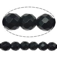 Black Stone Beads, Ronde, gefacetteerde, 6mm, Gat:Ca 0.8mm, Lengte:Ca 15 inch, 10strengen/Lot, Ca 60pC's/Strand, Verkocht door Lot