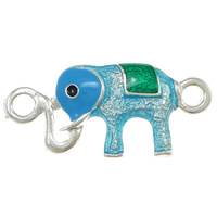 Animal Zinc Alloy Connector, Elephant, silver color plated, enamel & 1/1 loop, nickel, lead & cadmium free, 32x15x3mm, Hole:Approx 3mm, 100PCs/Lot, Sold By Lot