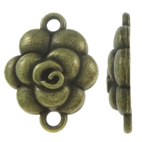 Flower Zinc Alloy Connector antique bronze color plated 1/1 loop nickel lead   cadmium free 15x20x4mm Hole:Approx 2mm Approx 585PCs/KG