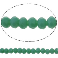 Imitation CRYSTALLIZED™ Element Crystal Beads, Rondelle, faceted & imitation CRYSTALLIZED™ crystal, Crystal Green, 6x4mm, Hole:Approx 1mm, Length:Approx 16.1 Inch, 10Strands/Bag, Approx 97PCs/Strand, Sold By Bag