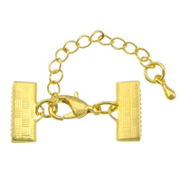 Brass Lobster Claw Cord Clasp, gold color plated, with ribbon crimp end, nickel, lead & cadmium free, 30x15mm, 200PCs/Lot, Sold By Lot