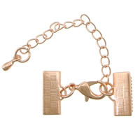 Brass Lobster Claw Cord Clasp, with 2lnch extender chain, rose gold color plated, nickel, lead & cadmium free, 30x10mm, 200PCs/Lot, Sold By Lot