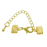 Brass Lobster Claw Cord Clasp, with 2lnch extender chain, gold color plated, nickel, lead & cadmium free, 30x7mm, 200PCs/Lot, Sold By Lot
