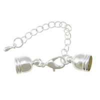 Brass Lobster Claw Cord Clasp, silver color plated, with end cap, nickel, lead & cadmium free, 9x6mm, 35mm, Inner Diameter:Approx 5mm, 200PCs/Lot, Sold By Lot