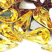 Стразы клеевые, Кристаллы, Каплевидная форма, плакирован серебром, граненый, желтое солнце, 8x13mm, 288ПК/сумка, продается сумка