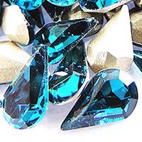 Стразы клеевые, Кристаллы, Каплевидная форма, плакирован серебром, граненый, переливчатый синий цвет, 8x13mm, 288ПК/сумка, продается сумка