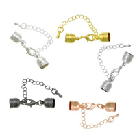 Brass Lobster Claw Cord Clasp, plated, with end cap, mixed colors, nickel, lead & cadmium free, 11x8mm, 38mm, Inner Diameter:Approx 7mm, 150PCs/Lot, Sold By Lot