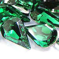 Стразы клеевые, Кристаллы, Каплевидная форма, плакирован серебром, граненый, кристальный зеленый, 8x13mm, 288ПК/сумка, продается сумка