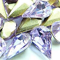 Стразы клеевые, Кристаллы, Каплевидная форма, плакирован серебром, граненый, Фиолетовый опал, 8x13mm, 288ПК/сумка, продается сумка
