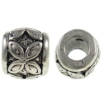 Zinc Alloy European Beads, Drum, antique silver color plated, without troll, nickel, lead & cadmium free, 9x10mm, Hole:Approx 4.5mm, 10PCs/Bag, Sold By Bag