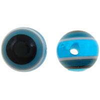 Koraliki z żywicy Zło Eye, żywica, Koło, pasek, błękit, 10mm, otwór:około 2mm, 1000komputery/torba, sprzedane przez torba