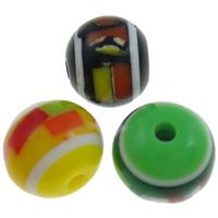 Żywica pasiasty perełki, żywica, Koło, pasek, mieszane kolory, 10mm, otwór:około 2mm, 1000komputery/torba, sprzedane przez torba