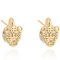 Gets® Jewelry Earring, Brass, Leopard, 18K gold plated, with cubic zirconia, nickel, lead & cadmium free, 12mm, Sold By Pair
