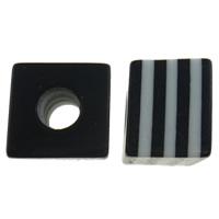 Żywica pasiasty perełki, żywica, Kostka, pasek, czarny, 10mm, otwór:około 4mm, 1000komputery/torba, sprzedane przez torba
