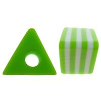 Żywica pasiasty perełki, żywica, Trójkąt, pasek, zielony, 12x11x8mm, otwór:około 3mm, 1000komputery/torba, sprzedane przez torba