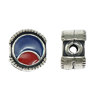 Thailand Sterling Silver Beads, Flat Round, enamel, 10x10x6mm, Hole:Approx 2mm, 5PCs/Lot, Sold By Lot