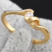 KUNIU® Finger Ring, Brass, 18K gold plated, with cubic zirconia, nickel, lead & cadmium free, 3mm, Size:9, Sold By PC