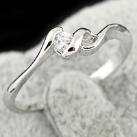 KUNIU® Finger Ring, Brass, platinum plated, with cubic zirconia, nickel, lead & cadmium free, 3mm, Size:6.5, Sold By PC