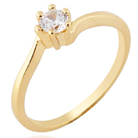 KUNIU® Finger Ring, Brass, 18K gold plated, with cubic zirconia, nickel, lead & cadmium free, 5mm, Size:5, Sold By PC