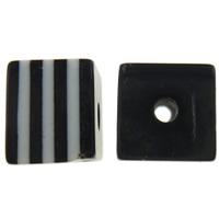 Żywica pasiasty perełki, żywica, Kostka, pasek, czarny, 8x7x8mm, otwór:około 2mm, 1000komputery/torba, sprzedane przez torba