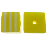 Żywica pasiasty perełki, żywica, Kostka, pasek, żółty, 8x7x8mm, otwór:około 2mm, 1000komputery/torba, sprzedane przez torba