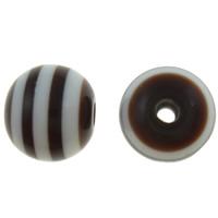 Żywica pasiasty perełki, żywica, Koło, pasek, kawowy, 10mm, otwór:około 2mm, 1000komputery/torba, sprzedane przez torba