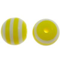 Żywica pasiasty perełki, żywica, Koło, pasek, żółty, 12mm, otwór:około 2mm, 1000komputery/torba, sprzedane przez torba