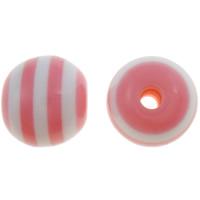Żywica pasiasty perełki, żywica, Koło, pasek, różowy, 10mm, otwór:około 2mm, 1000komputery/torba, sprzedane przez torba